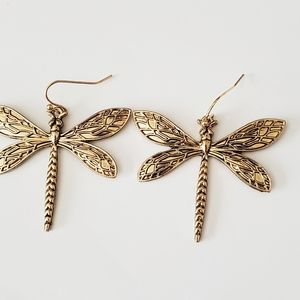 Antique Gold Dragonfly Dangle Earrings